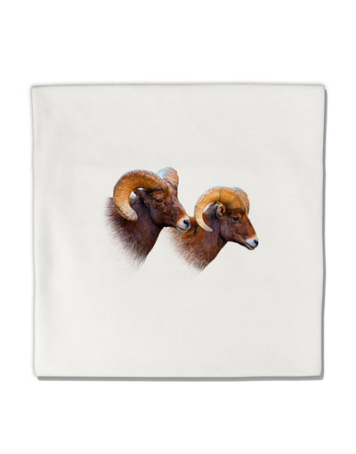 "Two Majestic Bighorn Rams Micro Fleece 14""x14"" Pillow Sham"