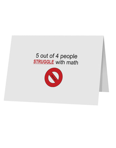 "5 out of 4 People Funny Math Humor 10 Pack of 5x7"" Top Fold Blank Greeting Cards by TooLoud"