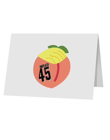 "Impeach Peach Trump 10 Pack of 5x7"" Top Fold Blank Greeting Cards by TooLoud"