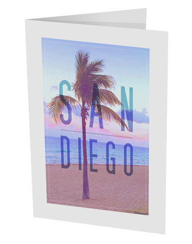 "San Diego Beach Filter 10 Pack of 5x7"" Side Fold Blank Greeting Cards"