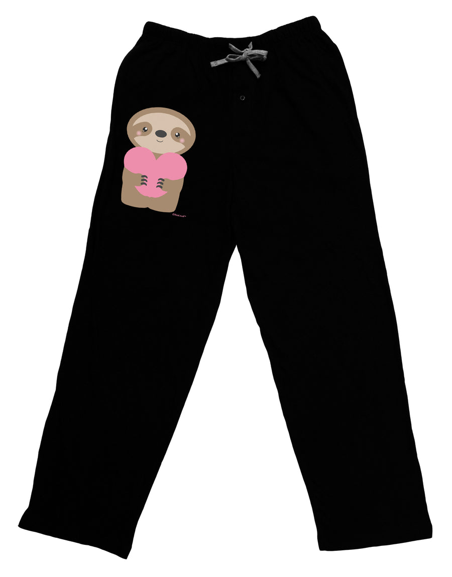 Cute Valentine Sloth Holding Heart Adult Lounge Pants - Black by TooLoud