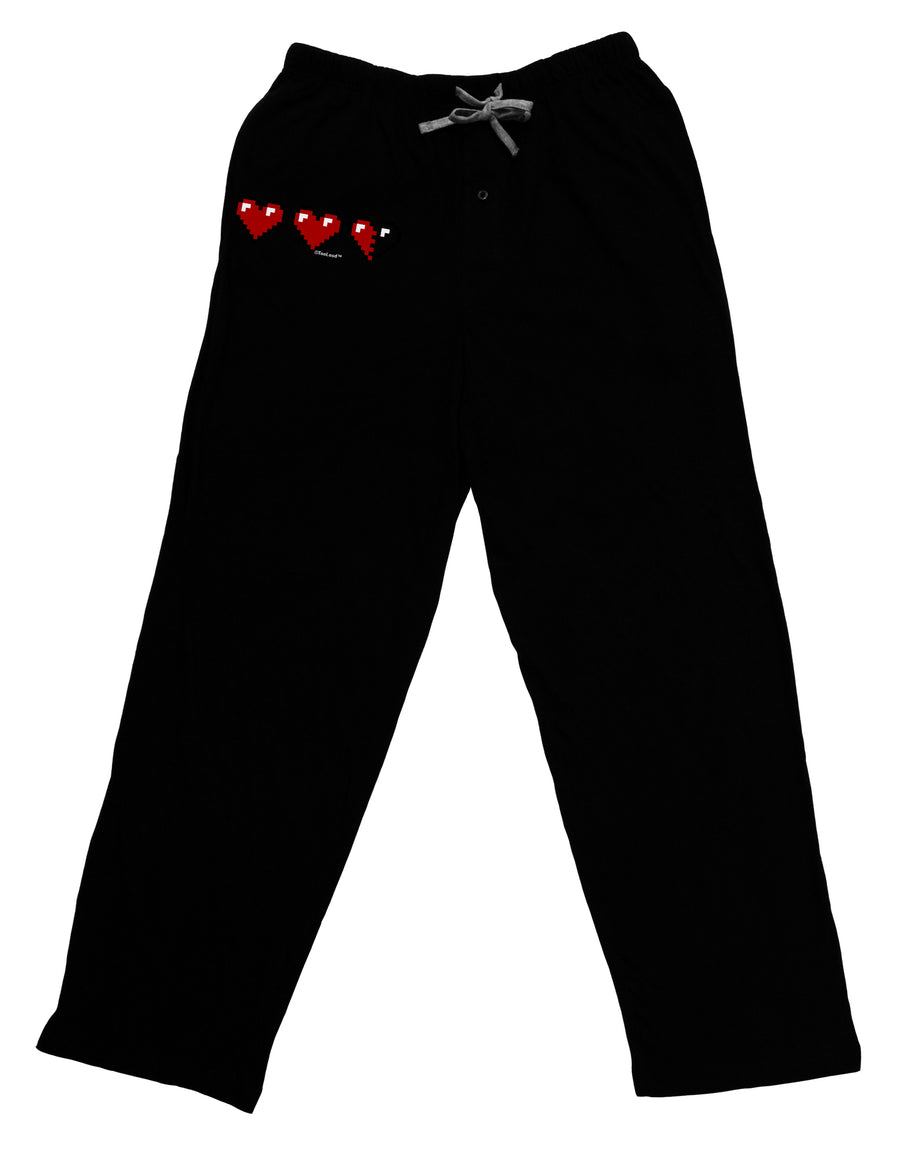 Couples Pixel Heart Life Bar - Left Adult Lounge Pants - Black by TooLoud