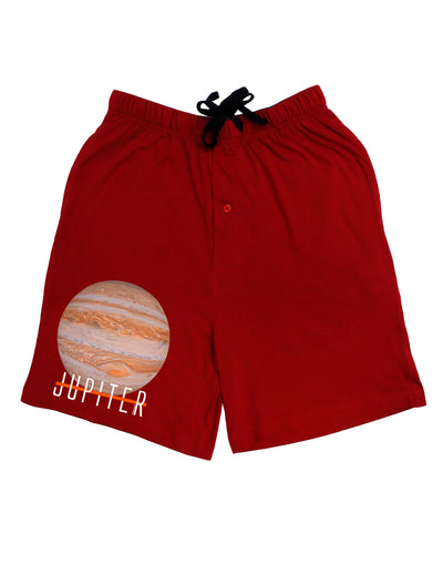 Planet Jupiter Earth Text Adult Lounge Shorts