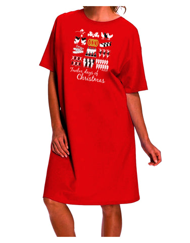 12 Days of Christmas Text Color Dark Adult Night Shirt Dress