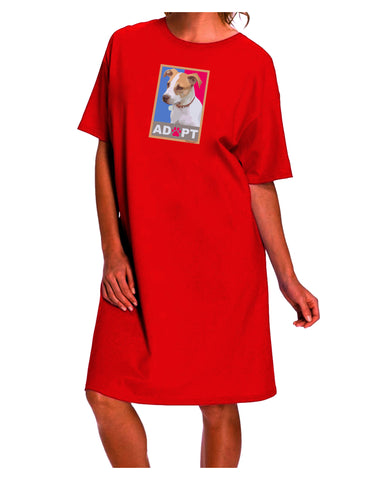 Adopt Cute Puppy Poster Dark Adult Night Shirt Dress