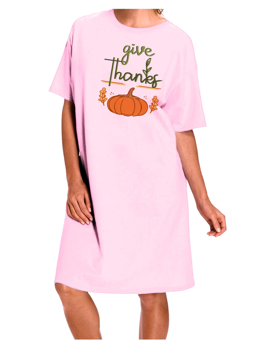 Give Thanks Adult Night Shirt Dress Red One Size Tooloud