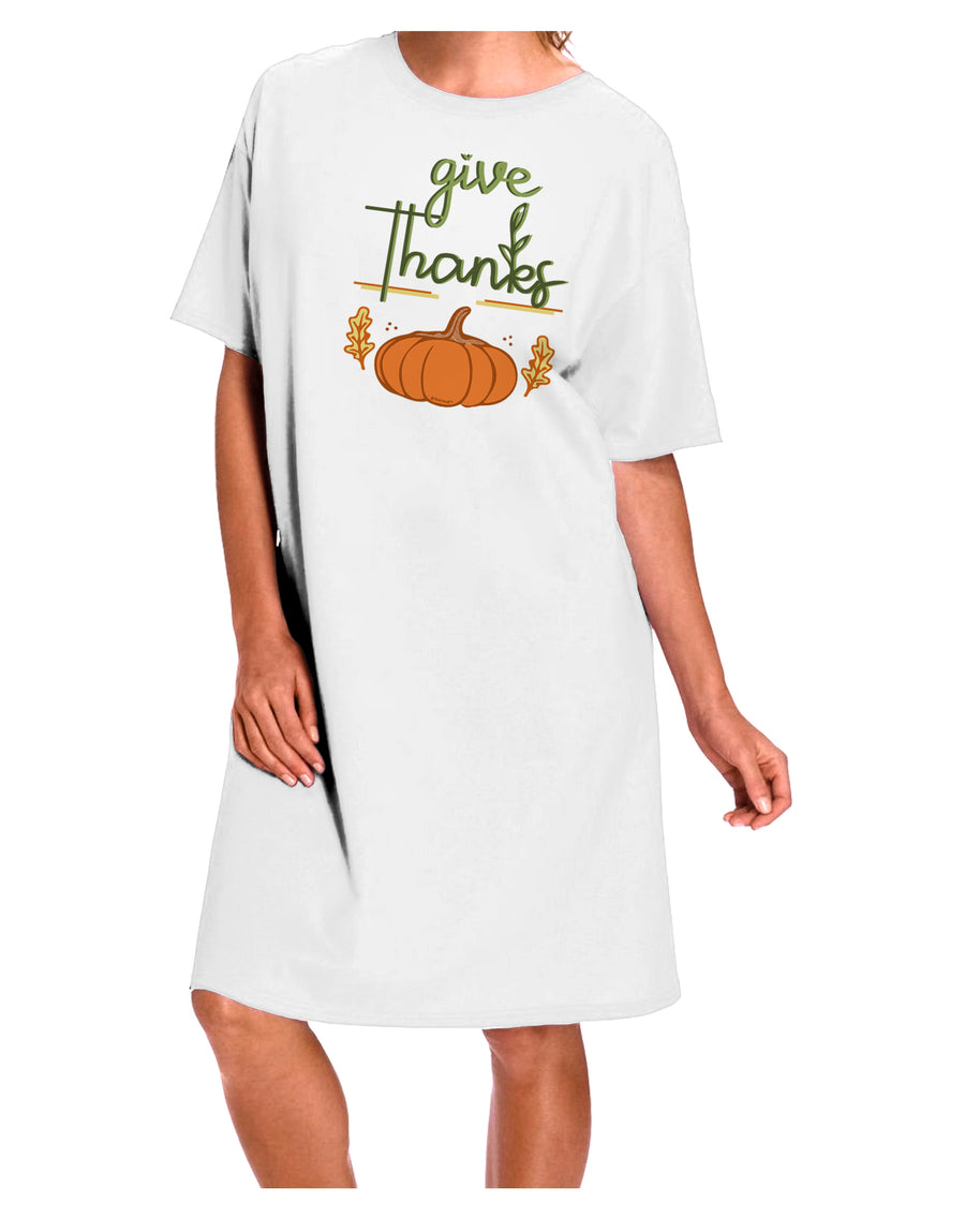 Give Thanks Adult Night Shirt Dress White One Size Tooloud