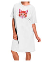Geometric Kitty Red Adult Night Shirt Dress - White - One Size