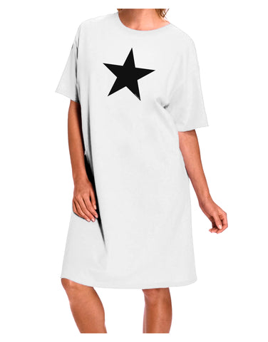 Black Star Adult Night Shirt Dress - White - One Size Tooloud