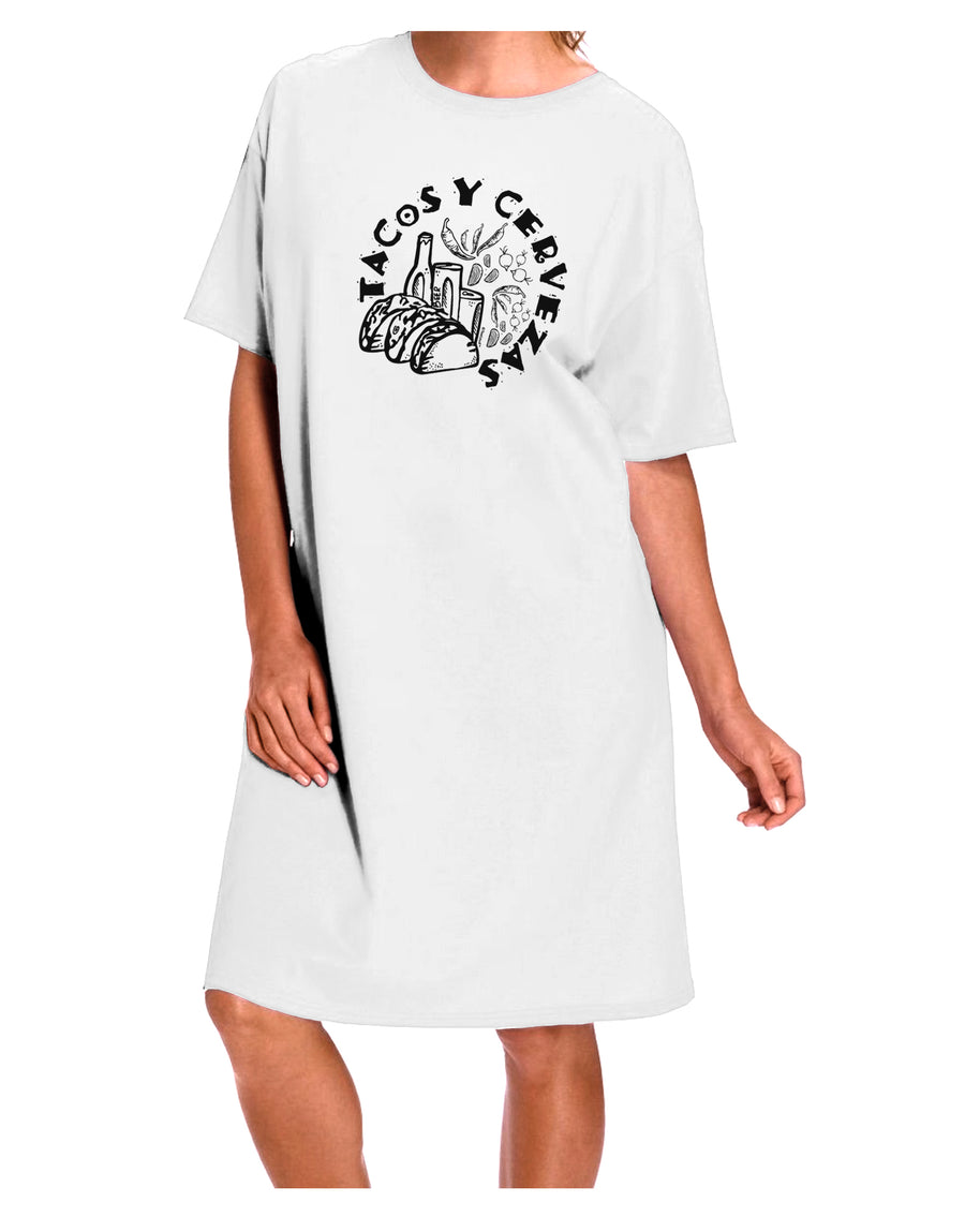 Tacos Y Cervezas Adult Night Shirt Dress White One Size Tooloud