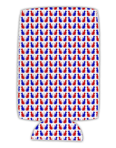 Patriotic Cat Pattern Collapsible Neoprene Tall Can Insulator All Over Print
