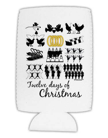 12 Days of Christmas Text Color Collapsible Neoprene Tall Can Insulator