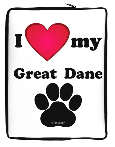 I Heart My Great Dane Neoprene laptop Sleeve 10 x 14 inch Portrait by TooLoud