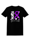 Hope for a Cure - Purple Ribbon Alzheimers Disease - Flowers Womens Dark T-Shirt