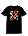 Hope for a Cure - Orange Ribbon Leukemia - Flowers Womens Dark T-Shirt
