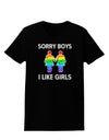 Sorry Boys I Like Girls Lesbian Rainbow Distressed Womens Dark T-Shirt