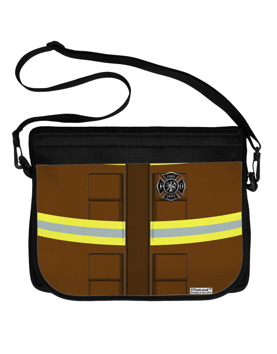 Firefighter Brown AOP Neoprene Laptop Shoulder Bag All Over Print
