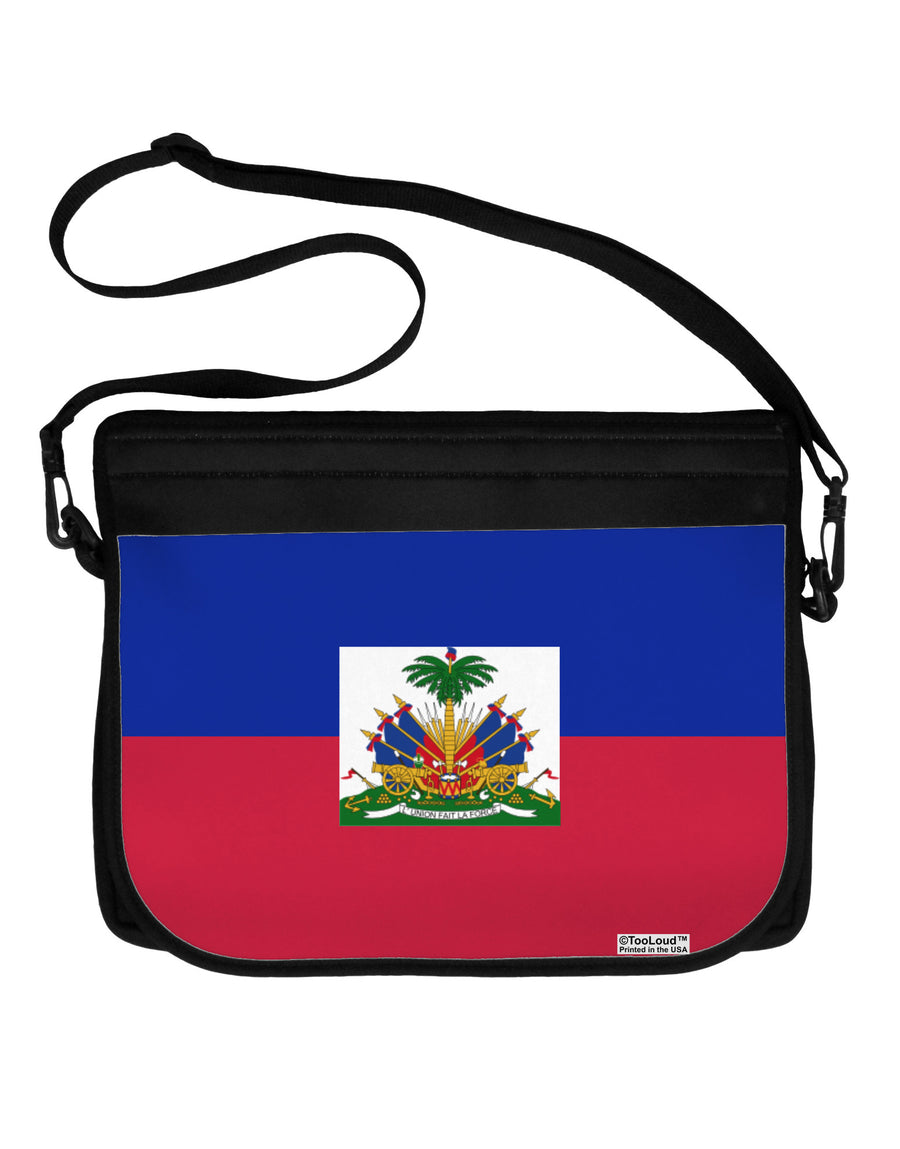Haiti Flag AOP Neoprene Laptop Shoulder Bag All Over Print