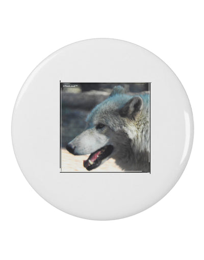 "TooLoud White Wolf Face 2.25"" Round Pin Button"