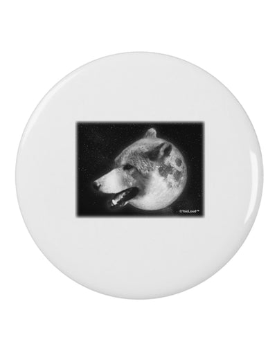 "TooLoud White Wolf Moon 2.25"" Round Pin Button"
