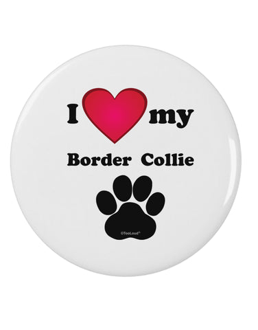 "I Heart My Border Collie 2.25"" Round Pin Button by TooLoud"
