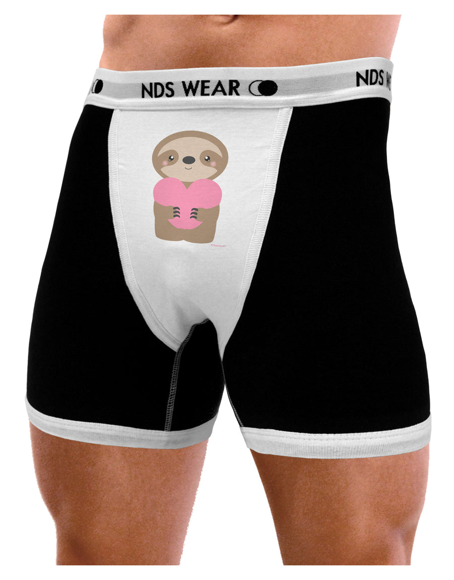 Cute Valentine Sloth Holding Heart Mens NDS Wear Boxer Brief Underwear by TooLoud