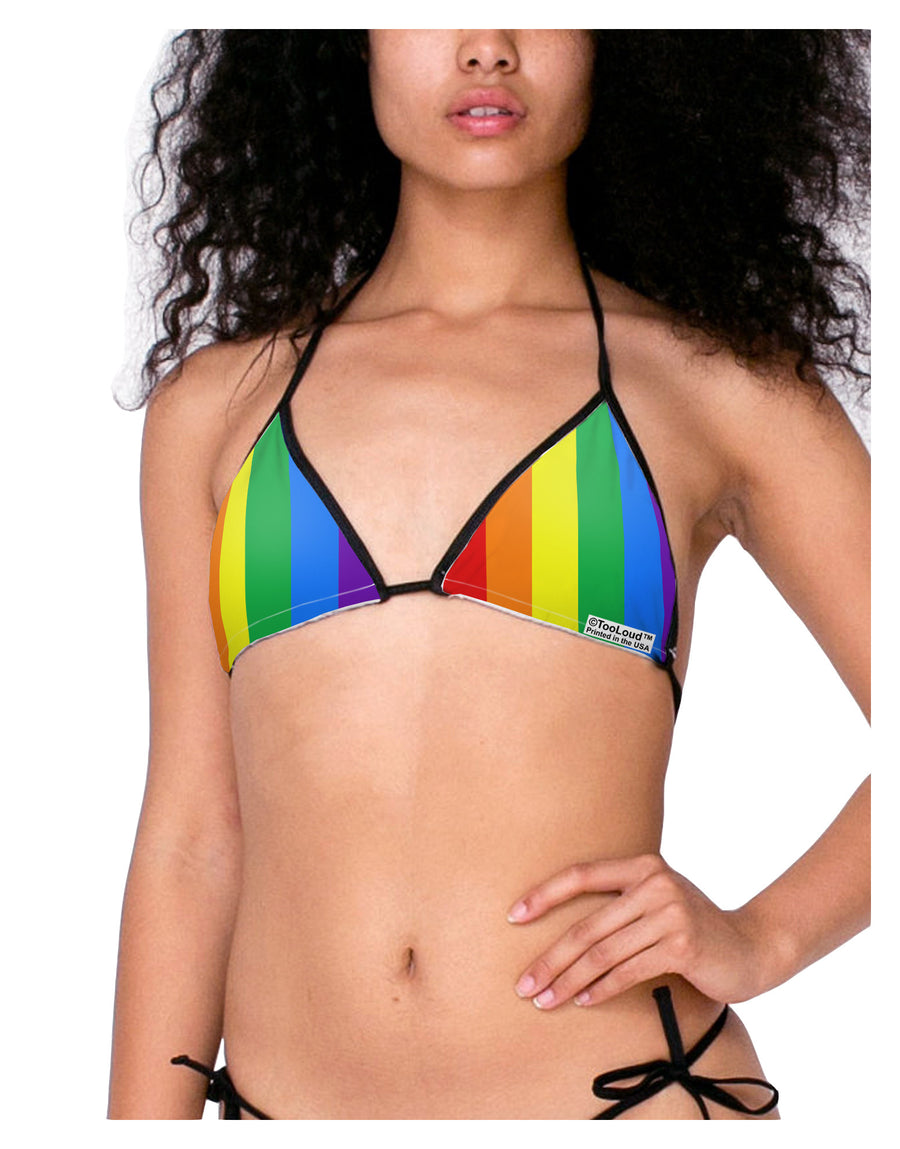 Rainbow Vertical Gay Pride Flag Swimsuit Bikini Top All Over Print by