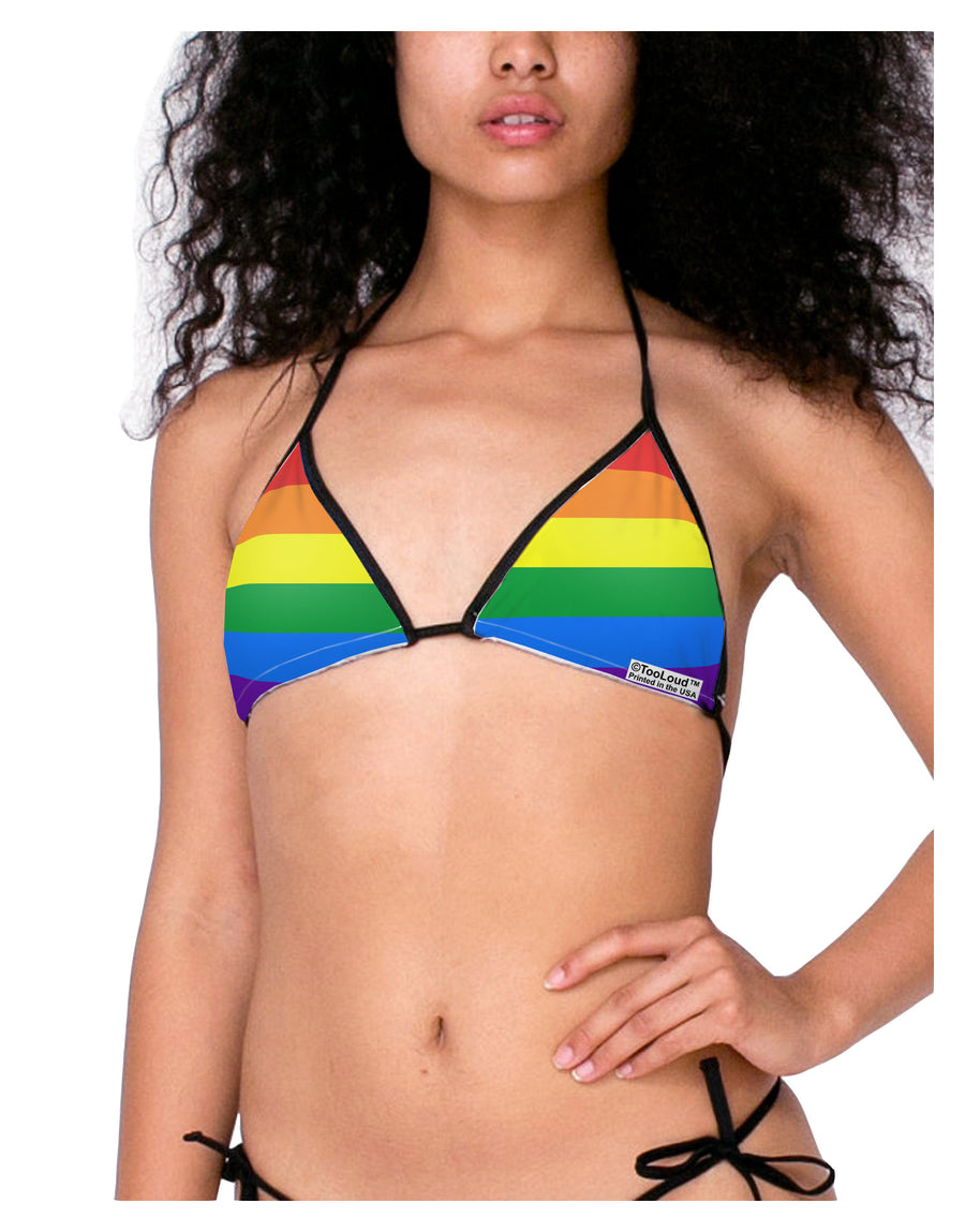Rainbow Horizontal Gay Pride Flag Swimsuit Bikini Top All Over Print by