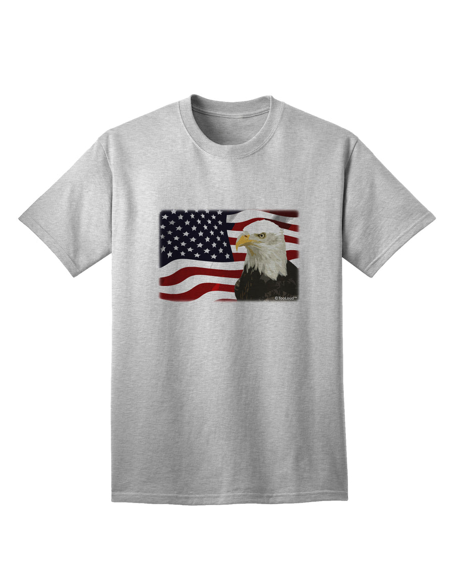 Patriotic USA Flag with Bald Eagle Adult T-Shirt by TooLoud