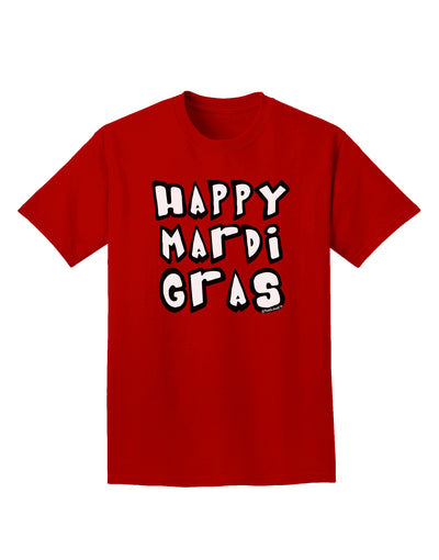 Happy Mardi Gras Text 2 BnW Adult Dark T-Shirt