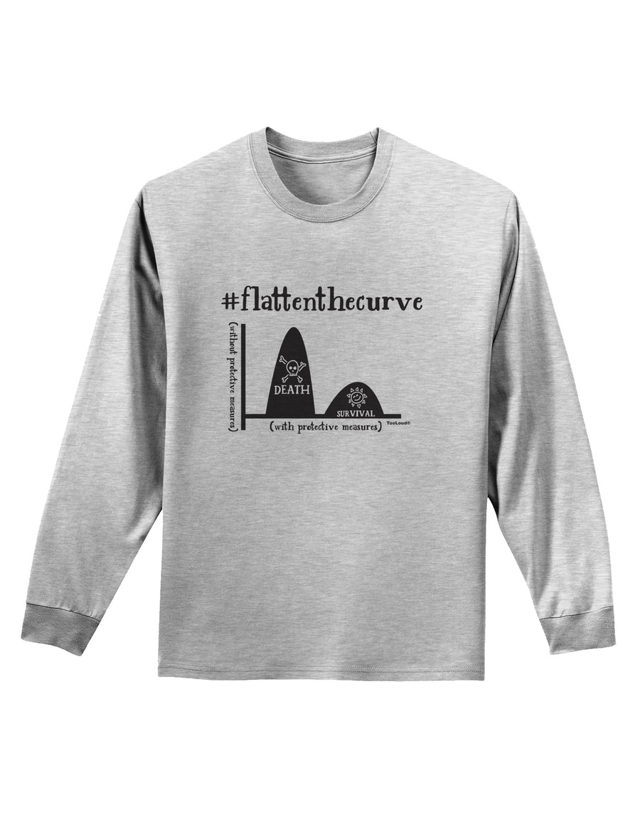 Flatten the Curve Graph Adult Long Sleeve Shirt White 4XL Tooloud