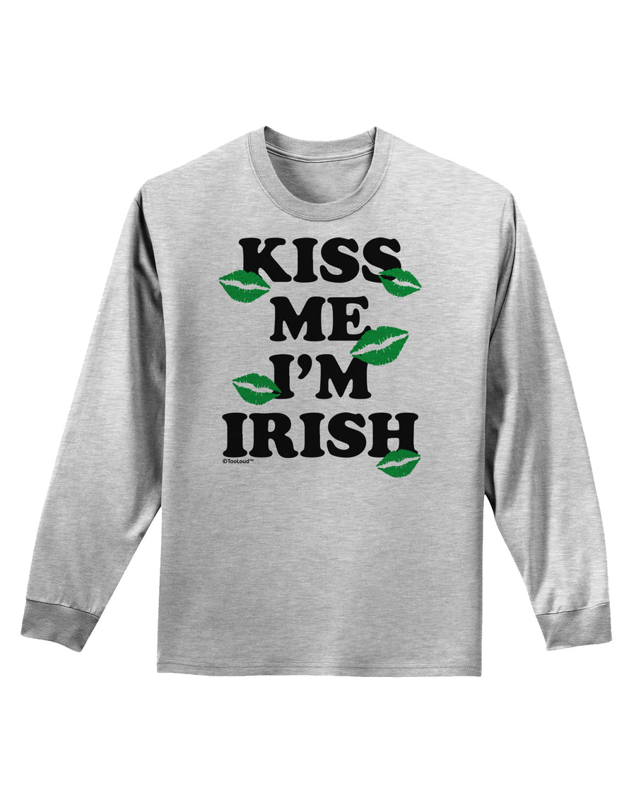 Kiss Me I'm Irish - Green Kisses Adult Long Sleeve Shirt by TooLoud