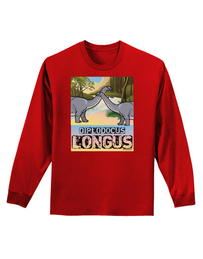 Diplodocus Longus - With Name Adult Long Sleeve Dark T-Shirt