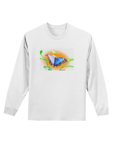 Blue Watercolor Butterfly Adult Long Sleeve Shirt