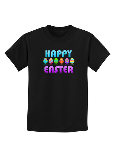 Happy Easter Decorated Eggs Childrens Dark T-Shirt