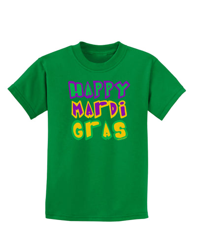 Happy Mardi Gras Text 2 Childrens Dark T-Shirt
