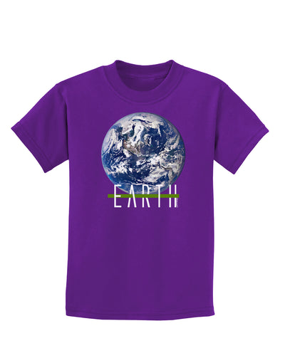Planet Earth Text Childrens Dark T-Shirt
