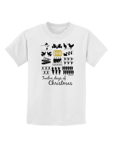 12 Days of Christmas Text Color Childrens T-Shirt