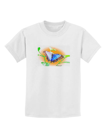 Blue Watercolor Butterfly Childrens T-Shirt