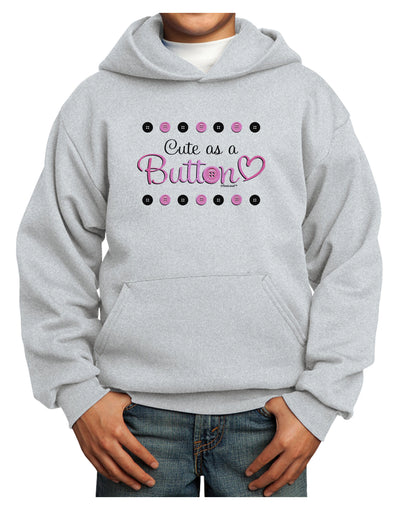 Cute As A Button Youth Hoodie Pullover Sweatshirt