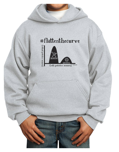 Flatten the Curve Graph Youth Hoodie Ash Extra-Large Tooloud