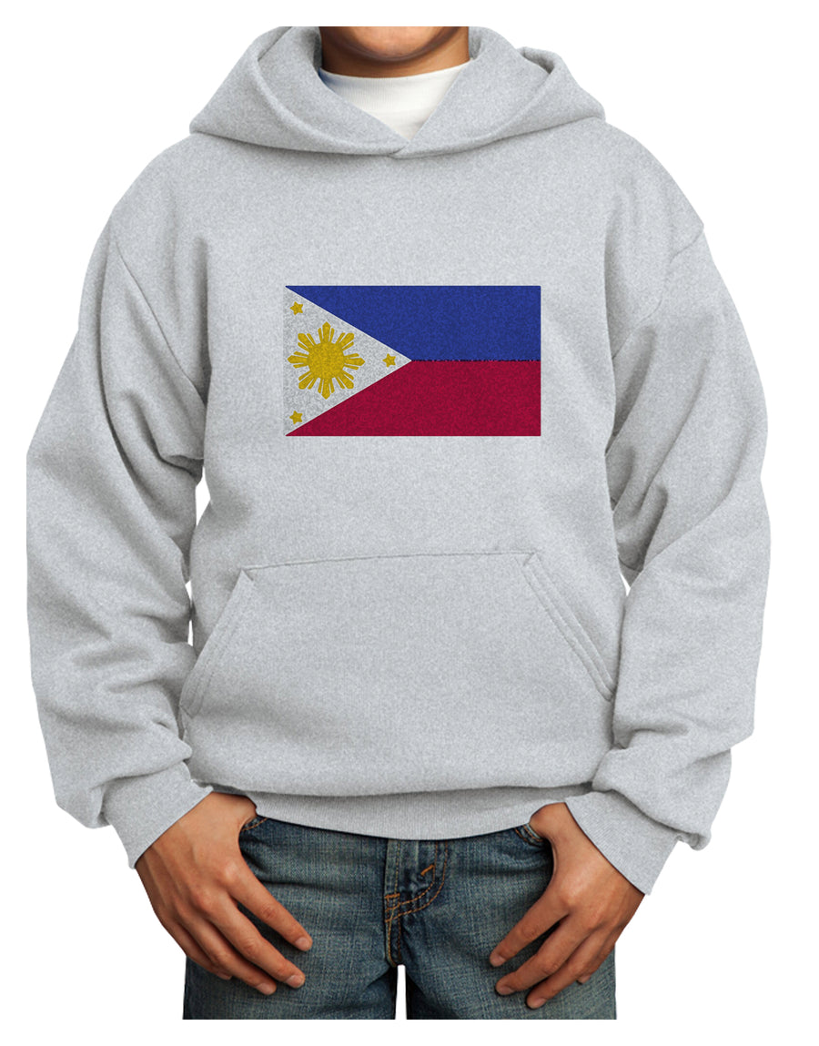 Distressed Philippines Flag Youth Hoodie White Extra-Large Tooloud