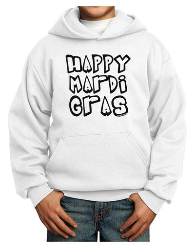 Happy Mardi Gras Text 2 BnW Youth Hoodie Pullover Sweatshirt