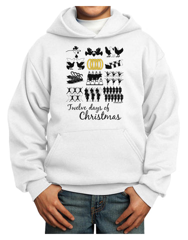 12 Days of Christmas Text Color Youth Hoodie Pullover Sweatshirt
