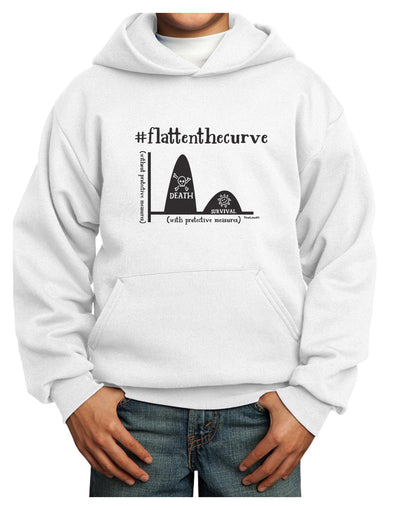 Flatten the Curve Graph Youth Hoodie White Extra-Large Tooloud