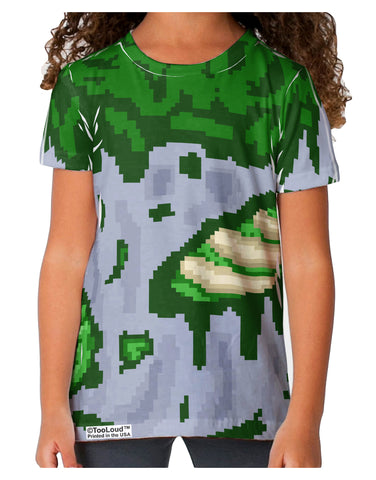 Pixel Zombie Costume Green Toddler T-Shirt Dual Sided All Over Print