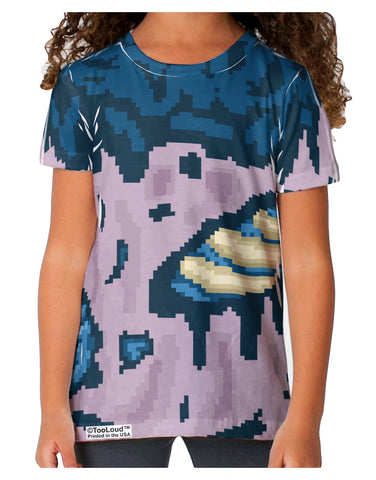 Pixel Zombie Costume Blue Toddler T-Shirt Dual Sided All Over Print