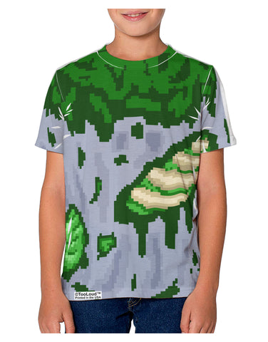 Pixel Zombie Costume Green Youth T-Shirt Single Side All Over Print