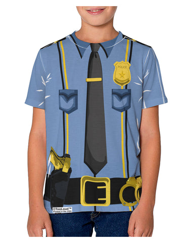 Police Blue-Gold AOP Youth T-Shirt Dual Sided All Over Print