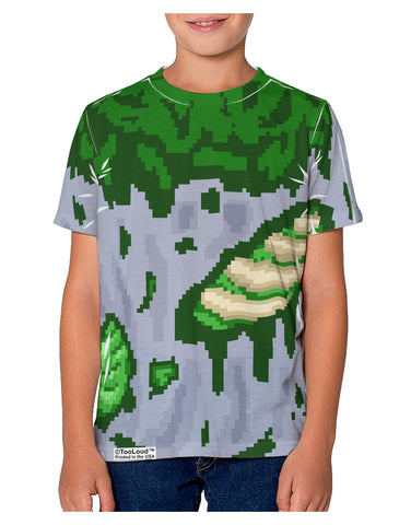 Pixel Zombie Costume Green Youth T-Shirt Dual Sided All Over Print